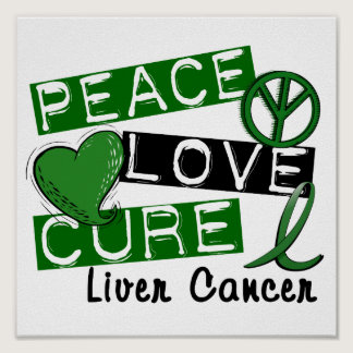 Peace Love Cure Liver Cancer Poster