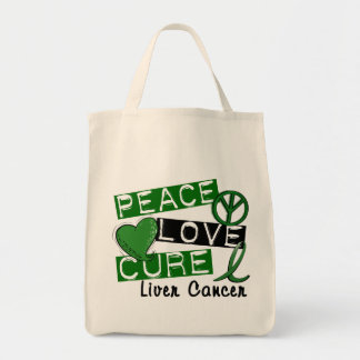 Peace Love Cure Liver Cancer Tote Bags