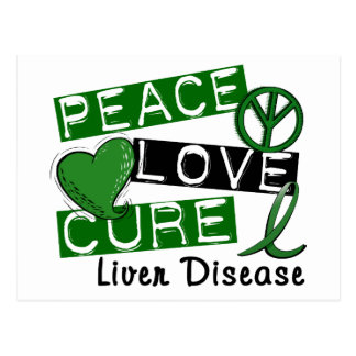 Peace Love Cure Liver Disease Postcard