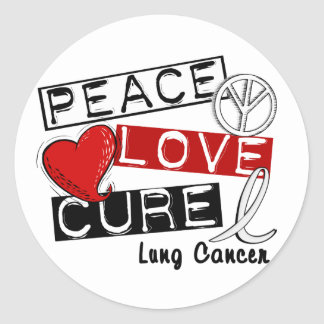 PEACE LOVE CURE LUNG CANCER ROUND STICKER