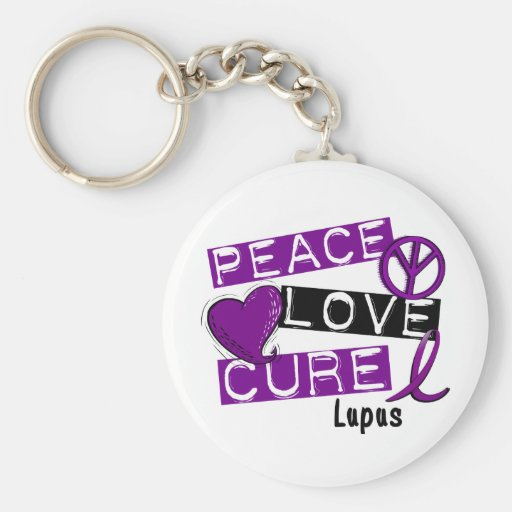 PEACE LOVE CURE LUPUS KEYCHAIN