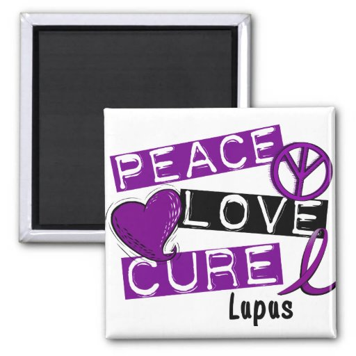 PEACE LOVE CURE LUPUS REFRIGERATOR MAGNETS