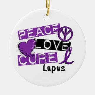 Peace Love Cure Lupus Christmas Ornaments