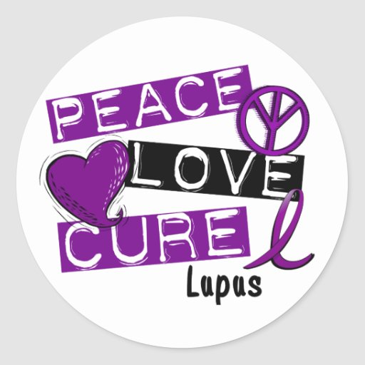 PEACE LOVE CURE LUPUS ROUND STICKERS
