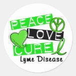 Peace Love Cure Lyme Disease 1 Round Sticker