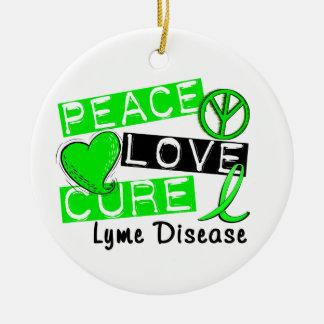 Peace Love Cure Lyme Disease Ornament