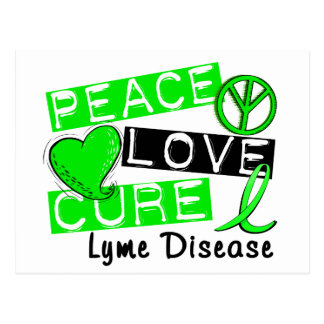 Peace Love Cure Lyme Disease Postcard