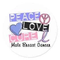 Peace Love Cure Male Breast Cancer Classic Round Sticker