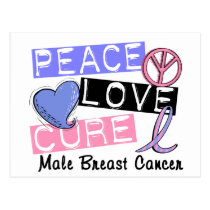 Peace Love Cure Male Breast Cancer Postcard