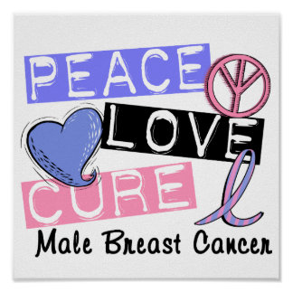 Peace Love Cure Male Breast Cancer Poster