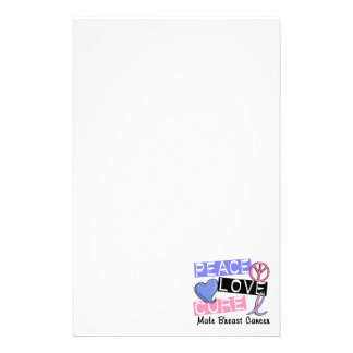 Peace Love Cure Male Breast Cancer Stationery Design