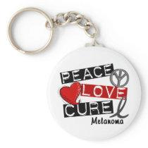PEACE LOVE CURE MELANOMA KEYCHAIN