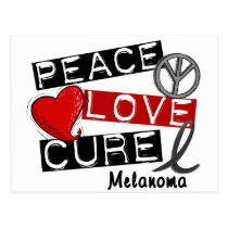 PEACE LOVE CURE MELANOMA POSTCARD