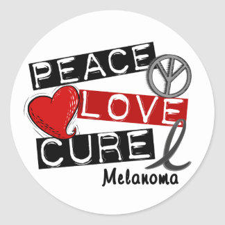 PEACE LOVE CURE MELANOMA Shirts & Gifts Classic Round Sticker