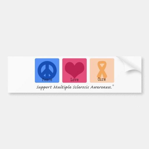 Peace Love Cure Multiple Sclerosis Bumper Stickers