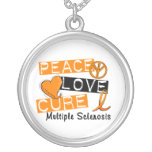 Peace Love Cure Multiple Sclerosis MS Round Pendant Necklace