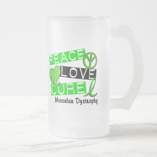 PEACE LOVE CURE MUSCULAR DYSTROPHY 16 OZ FROSTED GLASS BEER MUG