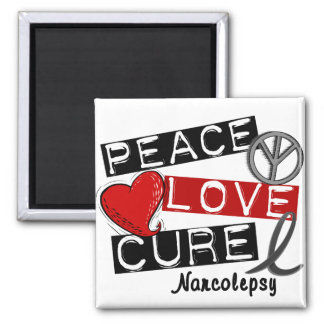 PEACE LOVE CURE NARCOLEPSY 2 INCH SQUARE MAGNET