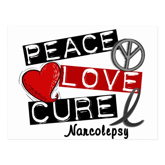 PEACE LOVE CURE NARCOLEPSY POSTCARD