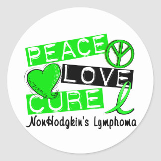 Peace Love Cure Non-Hodgkin's Lymphoma Round Stickers