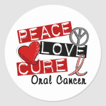 Peace Love Cure Oral Cancer Classic Round Sticker
