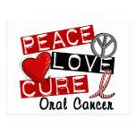 Peace Love Cure Oral Cancer Postcard