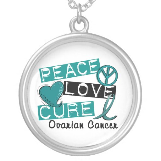 Peace Love Cure Ovarian Cancer Round Pendant Necklace
