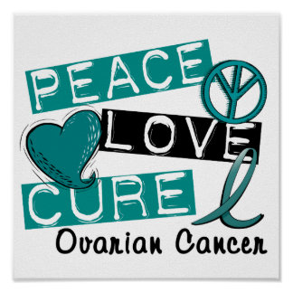 Peace Love Cure Ovarian Cancer Poster