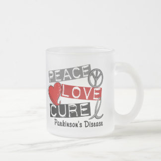 PEACE LOVE CURE PARKINSONS DISEASE 10 OZ FROSTED GLASS COFFEE MUG
