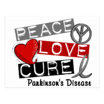 PEACE LOVE CURE PARKINSONS DISEASE POSTCARD