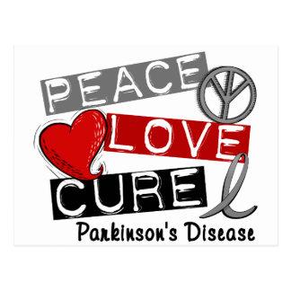 PEACE LOVE CURE PARKINSONS DISEASE POSTCARD