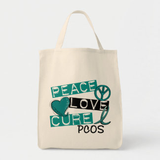 Peace Love Cure PCOS Polycystic Ovarian Syndrome Canvas Bag