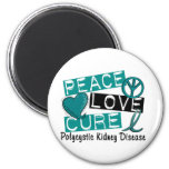 Peace Love Cure PKD Polycystic Kidney Disease 2 Inch Round Magnet