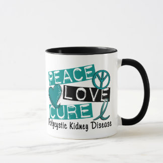 Peace Love Cure PKD Polycystic Kidney Disease Mug