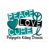 Peace Love Cure PKD Polycystic Kidney Disease Postcard