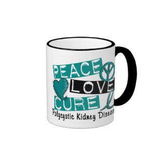 Peace Love Cure PKD Polycystic Kidney Disease Ringer Mug