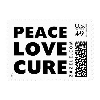 Peace Love Cure Postage Stamp