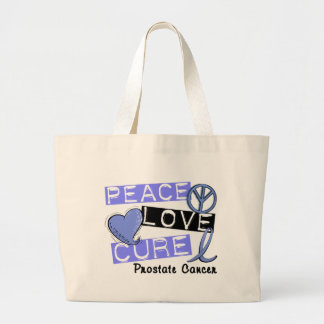 PEACE LOVE CURE PROSTATE CANCER CANVAS BAG