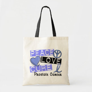 Peace Love Cure Prostate Cancer Tote Bags