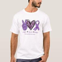 Peace Love Cure Purple Ribbon Fibromyalgia Awarene T-Shirt