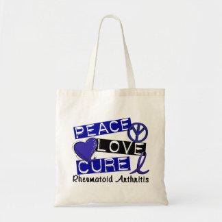 Peace Love Cure Rheumatoid Arthritis RA Canvas Bags