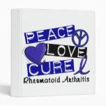 Peace Love Cure Rheumatoid Arthritis RA 3 Ring Binders
