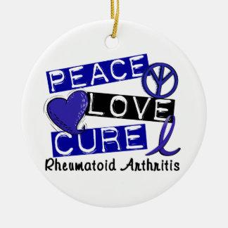 Peace Love Cure Rheumatoid Arthritis RA Double-Sided Ceramic Round Christmas Ornament