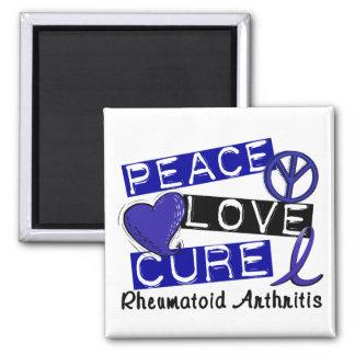Peace Love Cure Rheumatoid Arthritis RA 2 Inch Square Magnet