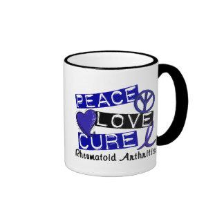 Peace Love Cure Rheumatoid Arthritis RA Ringer Coffee Mug