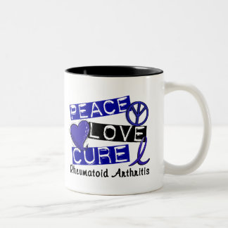 Peace Love Cure Rheumatoid Arthritis RA Two-Tone Coffee Mug