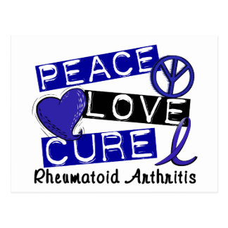 Peace Love Cure Rheumatoid Arthritis RA Postcard