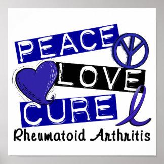 Peace Love Cure Rheumatoid Arthritis RA Poster