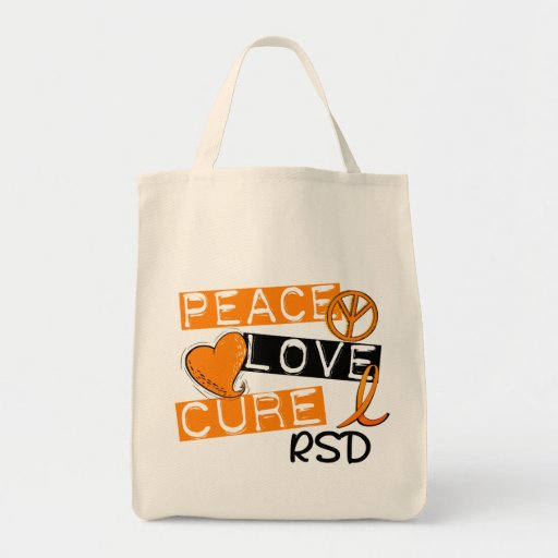 Peace Love Cure RSD Reflex Sympathetic Dystrophy Grocery Tote Bag