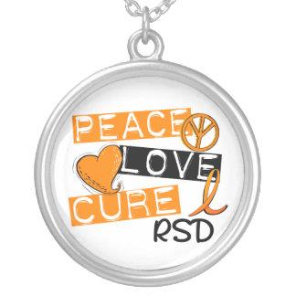 Peace Love Cure RSD Reflex Sympathetic Dystrophy Round Pendant Necklace